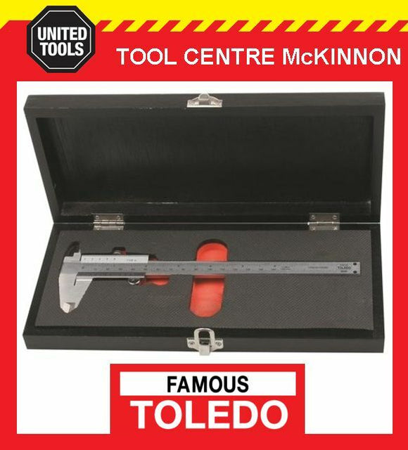 FAMOUS TOLEDO 322201 150mm ANALOGUE METRIC & IMPERIAL VERNIER CALIPER IN CASE