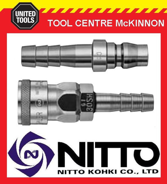 "GENUINE NITTO 3/8"" AIR HOSE COUPLER FITTING SET (30SH & 30PH) – MADE IN JAPAN"