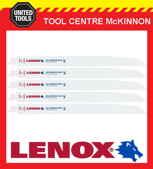 "5 x LENOX 12"" 156R NAIL EMBEDDED WOOD RECIPROCATING / SABRE SAW BLADE"