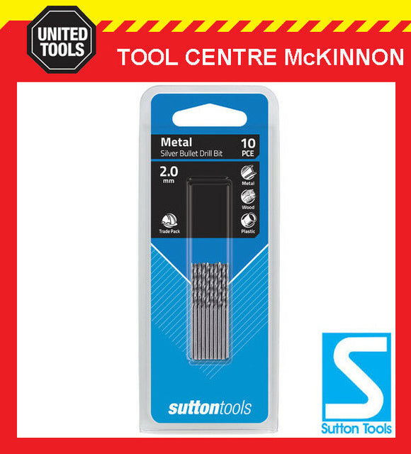 SUTTON SILVER BULLET 2.0mm METRIC JOBBER DRILL BIT BULK PACK – PACK OF 10