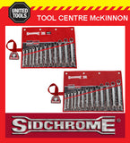SIDCHROME 25pce PRO SERIES RATCHET RING & OPEN END METRIC & A/F SPANNER / SETS