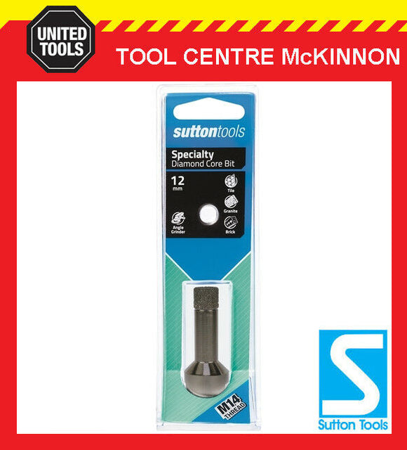 SUTTON 12mm DIAMOND CORE HOLESAW FOR TILES PORCELAIN & BRICK – SUIT M14 GRINDER