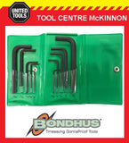 BONDHUS 00008 10pce A/F SHORT & LONG HEX ALLEN KEY SET IN WALLET