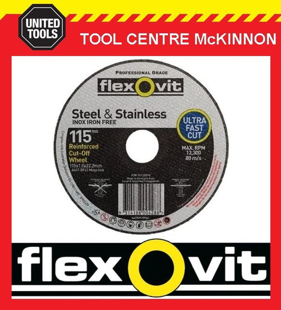 "100 x FLEXOVIT 115mm / 4½"" MEGA-LINE ULTRA THIN METAL CUT-OFF WHEEL"