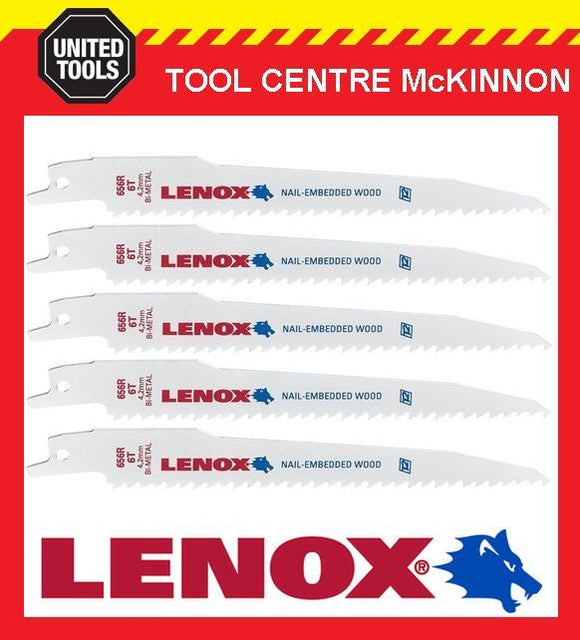 "5 x LENOX 6"" 656R NAIL EMBEDDED WOOD RECIPROCATING / SABRE SAW BLADE"