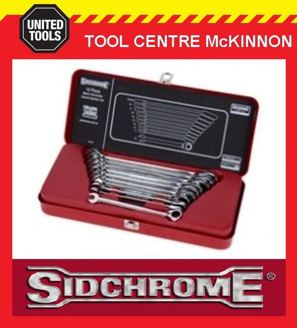 SIDCHROME SCMT22202 10pce GEARED RING & OPEN END METRIC SPANNER / WRENCH SET