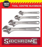 SIDCHROME 4pce CHROME PLATED ADJUSTABLE WRENCH SHIFTER SET – 6, 8, 10 & 12""