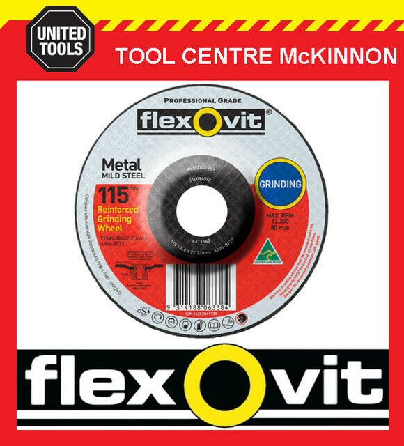"FLEXOVIT 115mm / 4.5"" x 6.0mm X 22.2mm DEPRESSED CENTRE METAL GRINDING WHEEL"