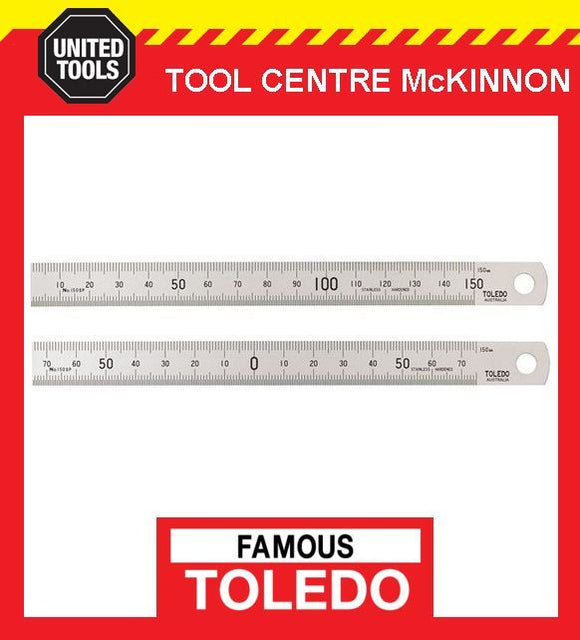TOLEDO 150SP STAINLESS STEEL DOUBLE SIDED METRIC RULE / RULER – MADE IN JAPAN