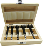 CARB-I-TOOL 5pce TUNGSTEN CARBIDE TIPPED FORSTNER BIT SET IN WOODEN BOX