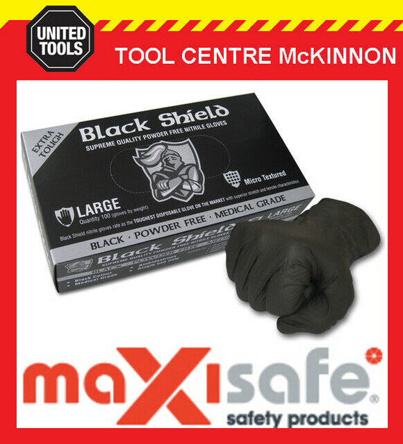 MAXISAFE BLACK SHIELD EXTRA HEAVY DUTY DISPOSABLE NITRILE GLOVES – PACKS OF100