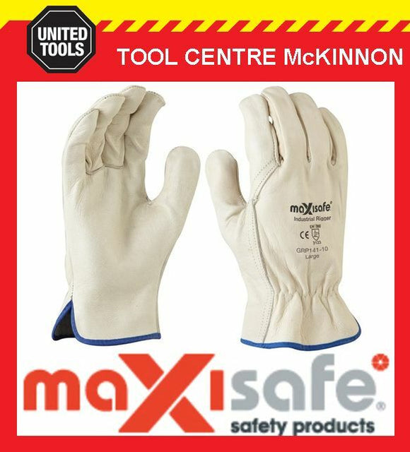 MAXISAFE PREMIUM COWGRAIN LEATHER BEIGE RIGGER'S GLOVES – LARGE