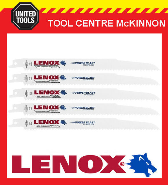 "5 x LENOX 9"" 956R NAIL EMBEDDED WOOD RECIPROCATING / SABRE SAW BLADE"
