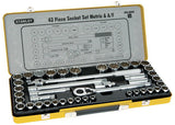 "STANLEY 89-509 43 PIECE 1/2"" DRIVE METRIC & IMPERIAL SOCKET SET IN METAL CASE"