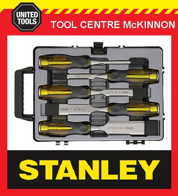 STANLEY FAT MAX 5pce THRU-TANG CHISEL SET IN CARRY CASE – MADE IN ENGLAND