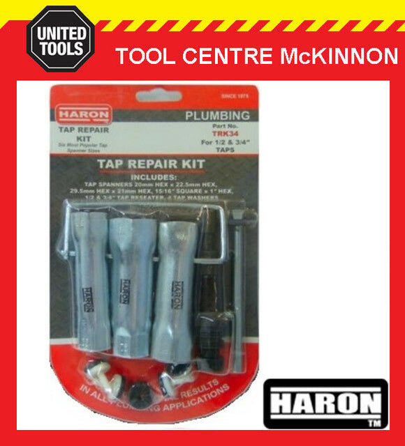 "HARON TRK34 TAP RESEATING REPAIR TOOL KIT FOR 1/2"" AND 3/4"" TAPS"