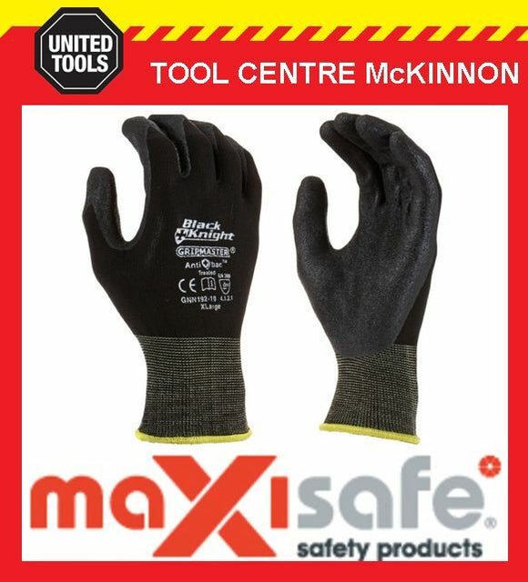 MAXISAFE BLACK KNIGHT GRIPMASTER LATEX PALM GENERAL PURPOSE WORK GLOVES – L
