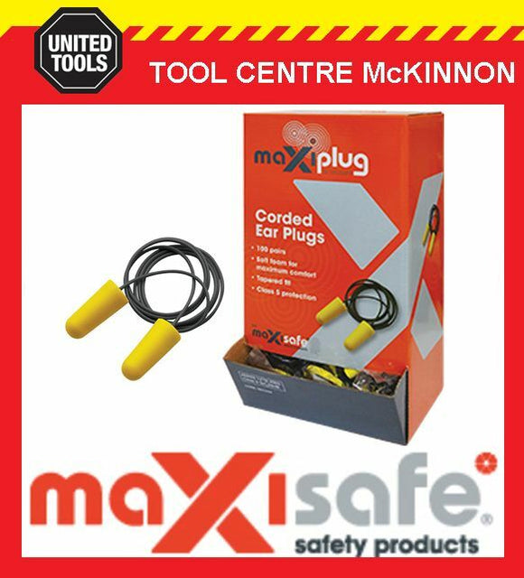 MAXISAFE 'MAXIPLUG' CLASS 5 27dB AS/NZS 1270:2002 CORDED EARPLUGS – BOX OF 100