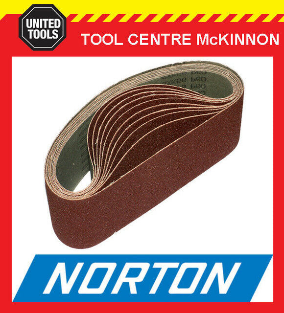 "10 x NORTON AUSTRALIAN MADE 4"" (100 x 610) SANDING BELTS - ALL GRITS"