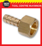 "3/8"" BSP BRASS FEMALE HOSE TAIL BARBED FITTING TO SUIT 3/8"" / 10mm AIR HOSE"