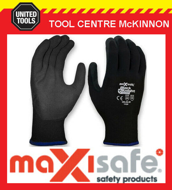 MAXISAFE BLACK KNIGHT SUB-ZERO WARM WINTER ACRYLIC WOOL LINED WORK GLOVES – M