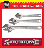 SIDCHROME 3pce CHROME PLATED ADJUSTABLE WRENCH SHIFTER SET – 8, 10 & 12""