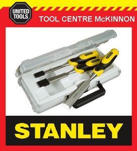 STANLEY DYNAGRIP 3pce CHISEL SET (12, 18 & 25mm) IN CARRY CASE – MADE IN ENGLAND