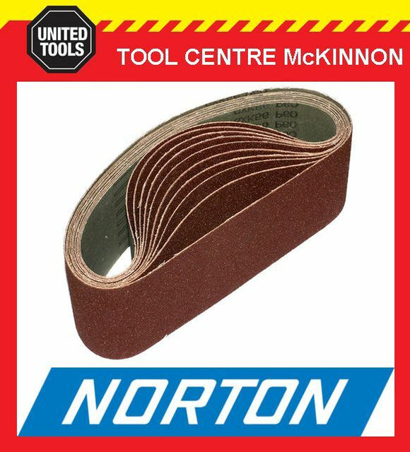"10 x NORTON #60 GRIT 3"" (75 x 610) SANDING BELT – SUIT MAKITA 9924DB AND OTHERS"