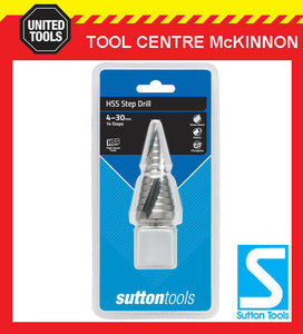 SUTTON TOOLS 4mm – 30mm 14 STEP METRIC HSS STEP DRILL