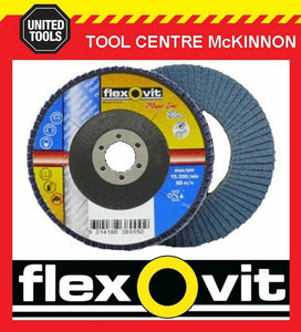 "FLEXOVIT #80 GRIT 5"" / 125mm x 7/8"" / 22.23mm ZIRCONIA MEGA-LINE BLUE FLAP DISC"