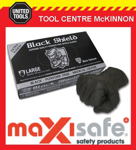 MAXISAFE BLACK SHIELD EXTRA HEAVY DUTY DISPOSABLE NITRILE GLOVES – 100 x LARGE