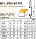 "CARB-I-TOOL / CARBITOOL T 8016 B 12.7mm x ¼"" TCT FLUSH TRIM ROUTER BIT"