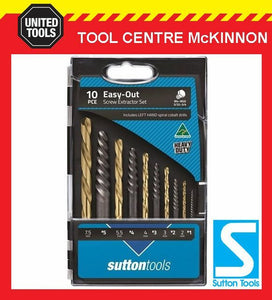 SUTTON 10pce EASY-OUT SCREW EXTRACTOR SET WITH MATCHED LEFT HAND DRILL BITS