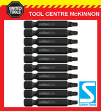 10 x SUTTON IMPACT SQUARE SQ2 x 50mm POWER INSERT BITS FOR IMPACT DRIVERS