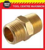 "3/8"" BSP BRASS HEX NIPPLE THREADED MALE TO MALE JOINER AIR FITTING"