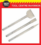 INDUSTRIAL 300mm 3pce SDS MAX ROTARY CHISEL, BULL POINT & SCALING CHISEL BIT SET