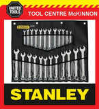 STANLEY 24pce RING & OPEN END COMBINATION METRIC & A/F SPANNER SET IN ROLL