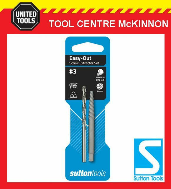 SUTTON #4 EASY-OUT SCREW EXTRACTOR WITH DRILL BIT – SUIT M10 – M14 SCREW / BOLT