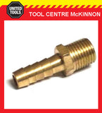"1/4"" BSP BRASS MALE HOSE TAIL BARBED FITTING TO SUIT 3/8"" / 10mm AIR HOSE"