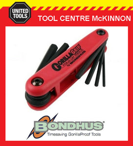 BONDHUS GORILLA GRIP 6pce METRIC 3 – 10mm FOLD UP HEX KEY SET – MADE IN USA