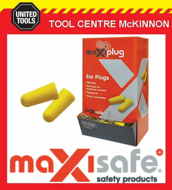MAXISAFE 'MAXIPLUG' CLASS 5 27dB AS/NZS 1270:2002 UNCORDED EARPLUGS – BOX OF 200