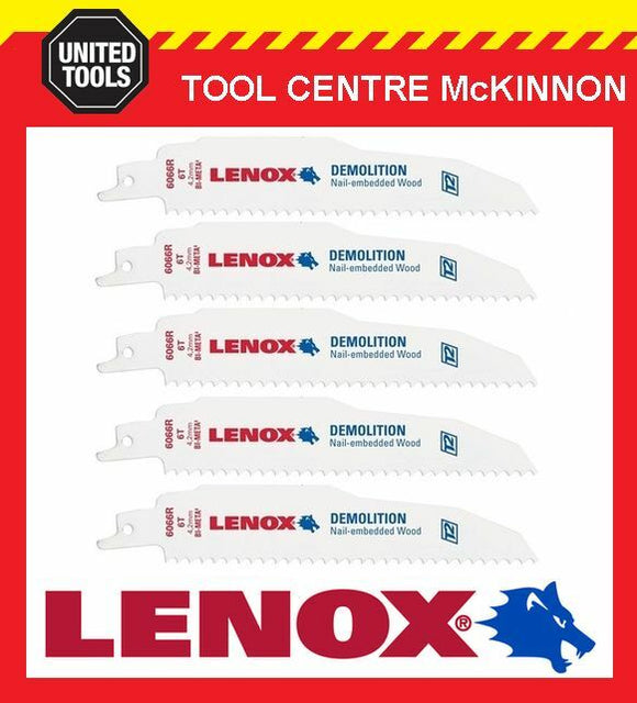 "5 x LENOX 6"" 6066R DEMOLITION NAIL EMBEDDED WOOD RECIPROCATING / SABRE SAW BLADE"