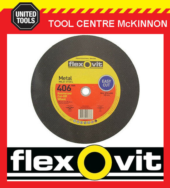 "5 X FLEXOVIT 406 x 4.4 x 25.4mm / 16"" REINFORCED METAL CUTING WHEEL FOR DEMO SAW"