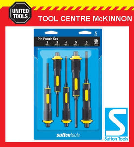 SUTTON TOOLS 5pce PIN PUNCH SET WITH SOFT GRIP HANDLES