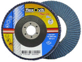 "FLEXOVIT #120 GRIT 5"" / 125mm x 7/8"" / 22.23mm ZIRCONIA MEGA-LINE BLUE FLAP DISC"