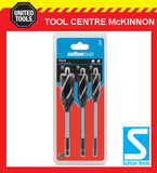 SUTTON TOOLS 3pce SELF-FEED SPEEDBOR STYLE 4 -FLUTE WOOD AUGER DRILL BIT SET