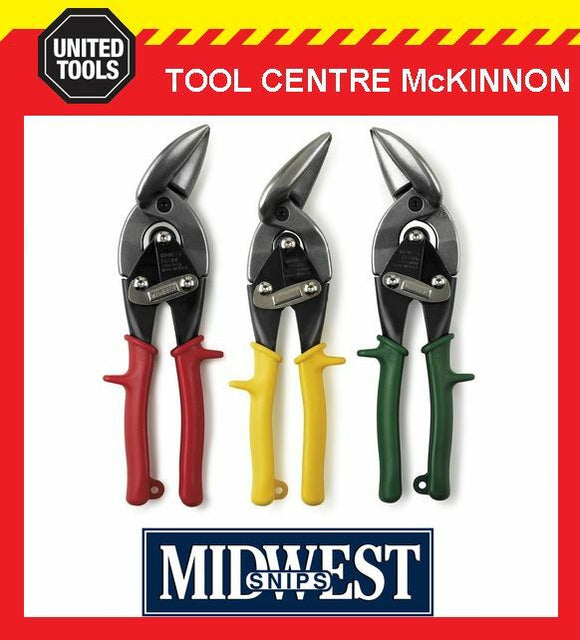 MIDWEST OFFSET AVIATION TIN SNIPS – 3 PIECE SET – STRAIGHT, LEFT & RIGHT CUT