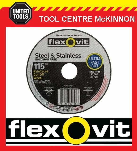"10 x FLEXOVIT 115mm / 4½"" MEGA-LINE ULTRA THIN METAL CUTTING CUT-OFF WHEEL"