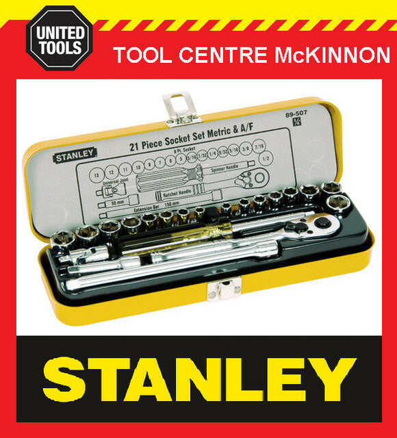 "STANLEY 89-507 21 PIECE 1/4"" DRIVE METRIC & IMPERIAL SOCKET SET IN METAL CASE"