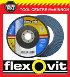 "FLEXOVIT #80 GRIT 4"" / 100mm x 5/8"" / 16mm ZIRCONIA MEGA-LINE BLUE FLAP DISC"